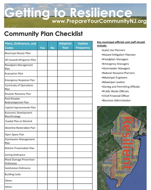 community plan checklist getting to resilience